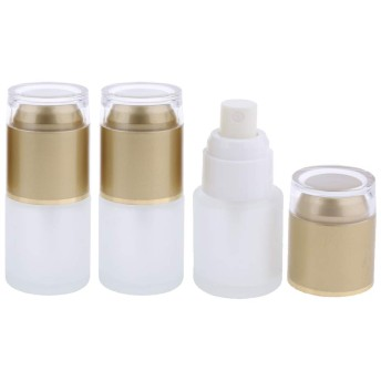 3個 メイクアップボトル ポンプボトル 旅行 化粧品 液体 詰替え容器 3色2タイプ選べ - ゴールド2