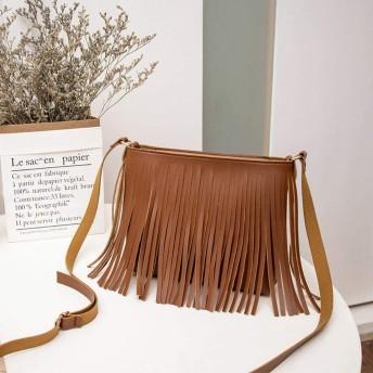 フリンジショルダーバッグ斜めのファッション小さな正方形のパッケージ,褐色