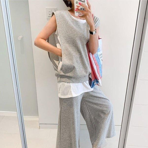 ANNAS 正韓 假兩件 背心 套裝 長褲 上衣 無袖 T 棉質 彈性 寬鬆 休閒 韓國