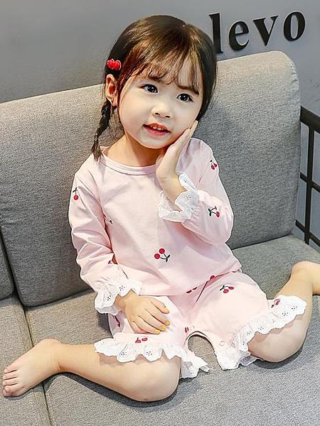 睡衣女童睡衣薄款春秋寶寶純棉兒童嬰兒連體衣夏天女孩家居服小童夏季嬡孕哺 618購物