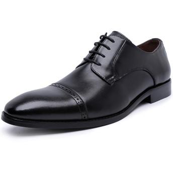 [フォクスセンス] ビジネスシューズ 本革 ストレートチップ 革靴 紳士靴 メンズ 外羽根 ドレスシューズ ブラック 24.5CM DS665-01
