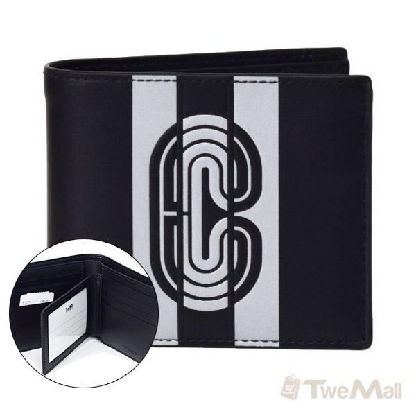 COACH 新款全皮皮革CLOGO皮夾/短夾(黑)