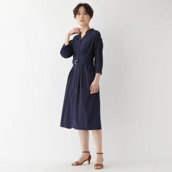 エージー バイ アクアガール AG by aquagirl 【洗える】ベルト付きタックワンピース (ネイビー)