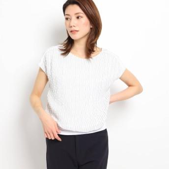クードシャンス COUP DE CHANCE 【洗える】異素材フレンチスリーブプルオーバー (ホワイトストライプ)
