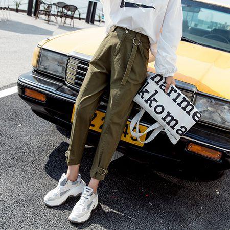 2020早秋新款哈倫褲女休閒個性帥氣高腰寬鬆學生大碼韓版工裝褲潮