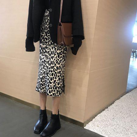 豹紋高腰開叉針織半身裙中長款秋冬季女修身顯瘦包臀裙子2020新款