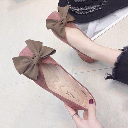 女鞋2020春季新款韓版百搭蝴蝶結方頭單鞋女仙女學生平底淺口瓢鞋