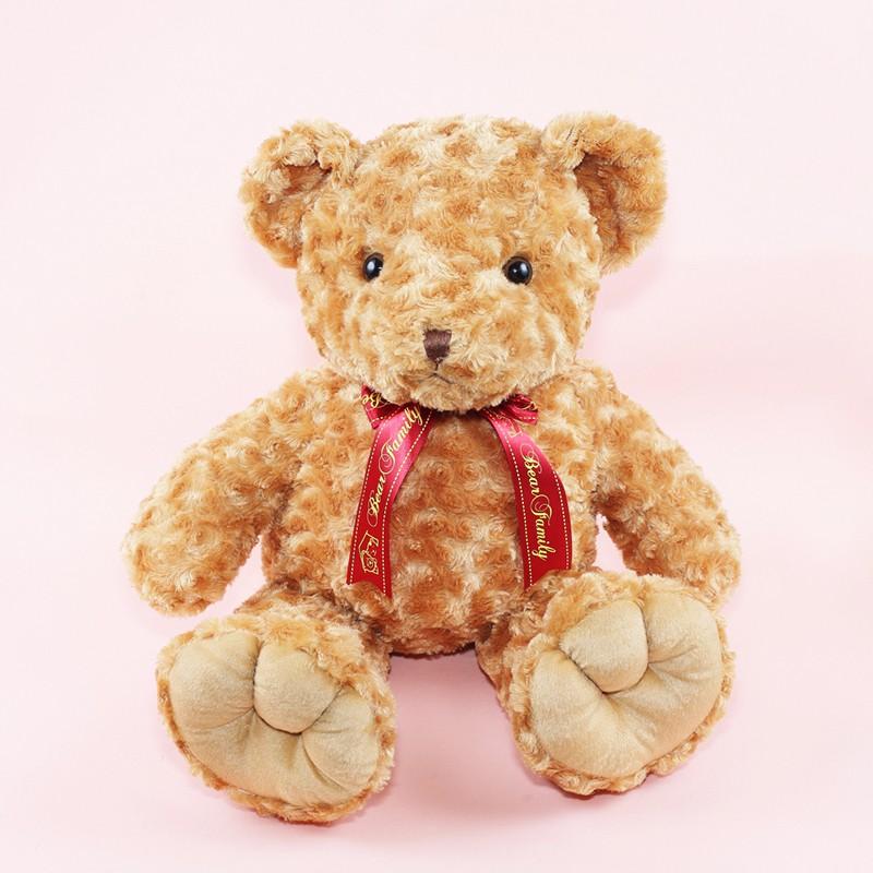 65公分捲毛泰迪熊 可繡字 玫瑰紋布 共三色 (單隻)小熊家族 泰迪熊專賣店