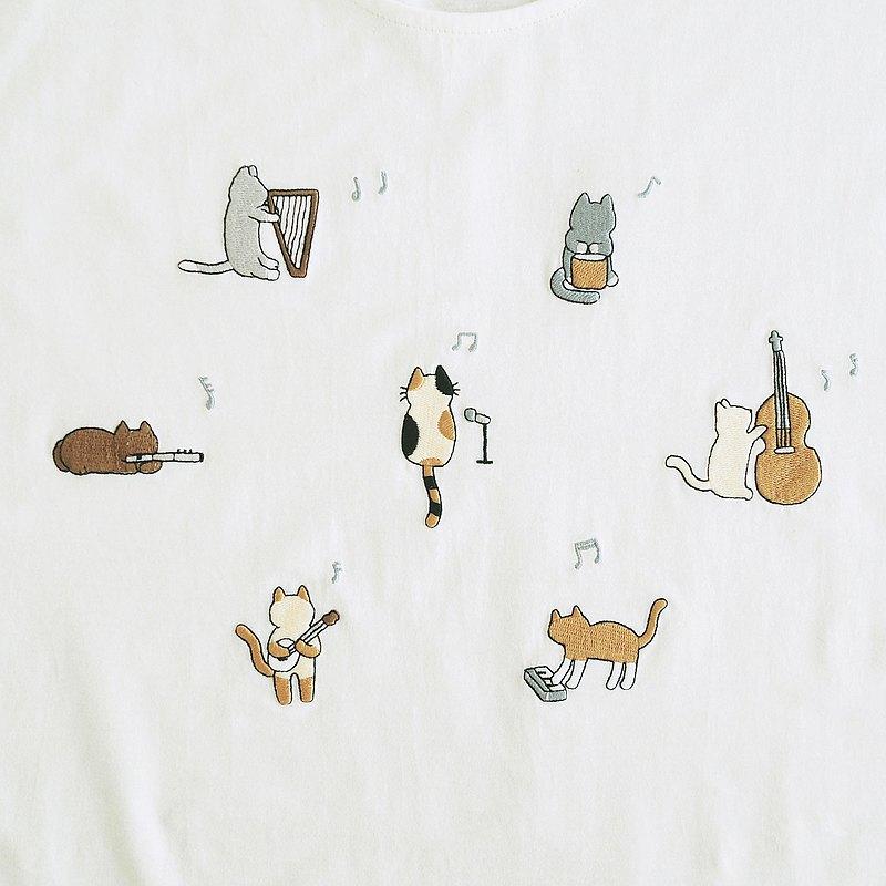 貓咪樂隊T卹:灰白色