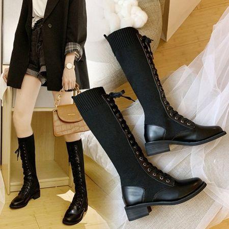 騎士長靴女2020秋冬新款厚底高筒靴不過膝及裸靴網紅瘦瘦彈力襪靴