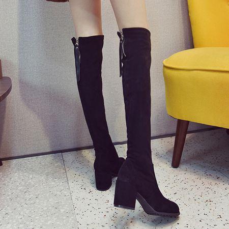 長筒靴女過膝高筒靴子秋冬高跟2020新款小個子粗跟網紅彈力瘦瘦靴