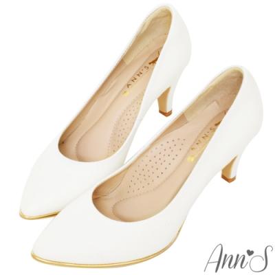 Ann'S 美腿公式 小羊皮金色夾心尖頭高跟鞋 白