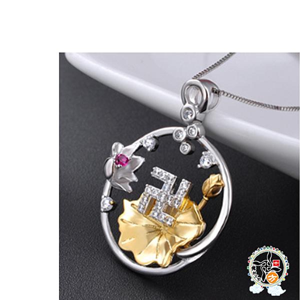 卍字印鑲鑽鍍黄金蓮花 s925純銀墜飾不含項鍊【十方佛教文物】