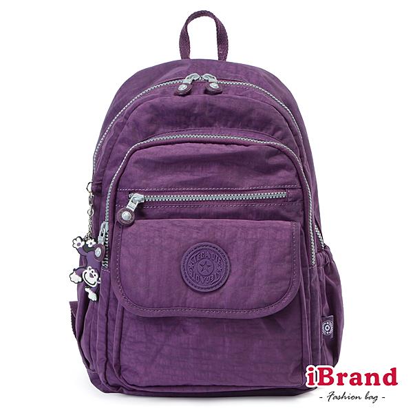 【i Brand】簡約素色超輕盈尼龍多功能後背包- 神秘紫 TGT-1503-A