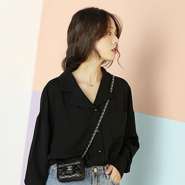 冷淡風黑色雪紡衫小襯衫設計感小眾女裝2020春裝流行時尚上衣ins