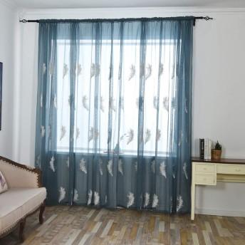 Farantasyカーテン 葉透けカーテンチュールウィンドウトリートメントボイルドレープヴァランスリビングルームベッドルームバスルームオフィスコーヒーカーテン1パネルファブリックウェアカーテン100x250cm