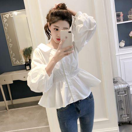 2020春季新款韓範長袖白襯衫女娃娃衫學生chic上衣收腰燈籠袖襯衣