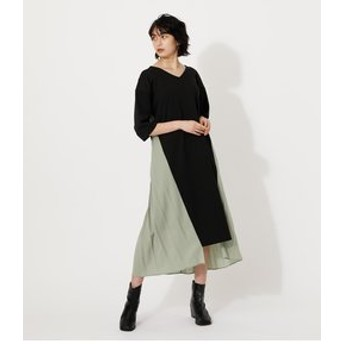 【AZUL by moussy:ワンピース】MATERIAL SWITCHING OP