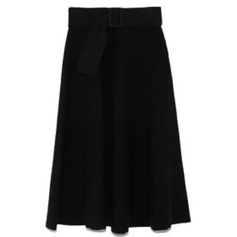 【Mila Owen:スカート】ベルト付リップル編構築ニットスカート