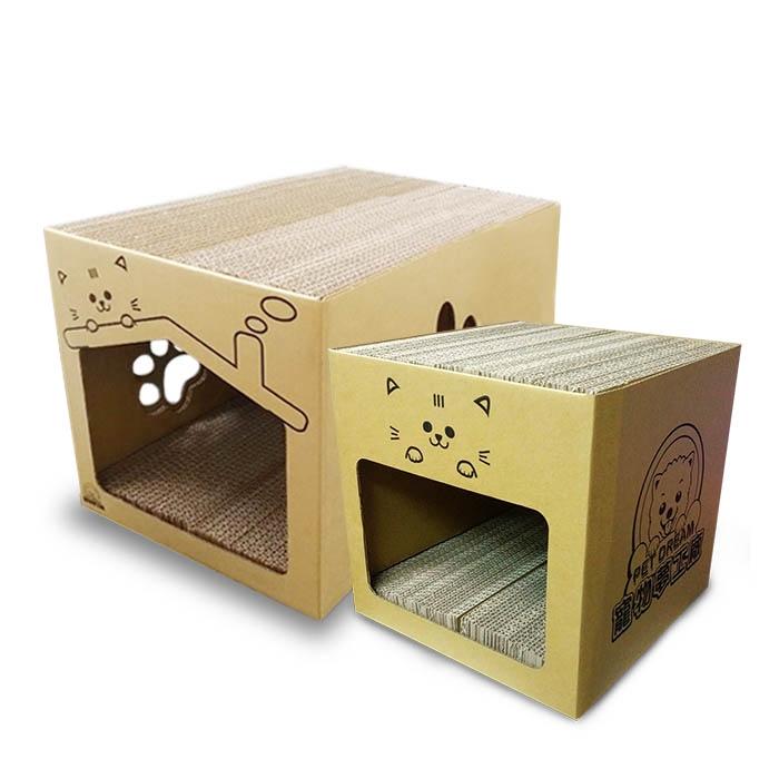 寵物夢工廠MIT耐抓貓屋(內附4片貓抓板) 貓磨爪 貓抓 貓玩具 貓窩 貓床 瓦楞紙 貓爪 寵物用品 貓咪 寵物 貓