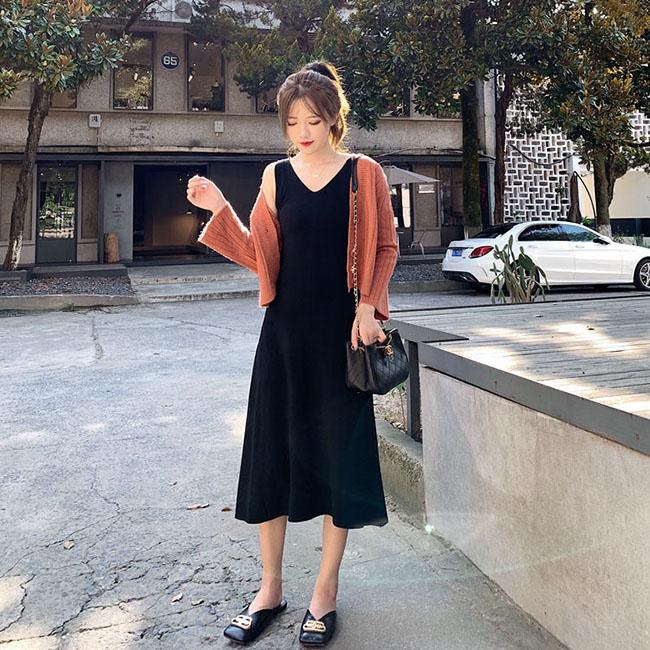 FOFU-吊帶裙顯白慵懶風寬鬆舒適V領休閒吊帶裙【08G-M1311】