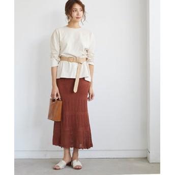 【titivate:スカート】かぎ針編みニットマーメイドフレアスカート