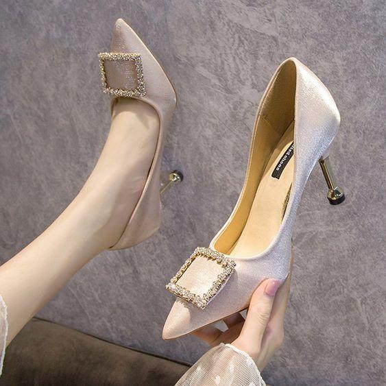 2020春秋新款時尚尖頭淺口韓版高跟鞋女舒適百搭金屬方扣細跟單鞋