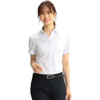 リボン袖デザイン 半袖スキッパーブラウス【コスメリリース】【ノンアイロン】【シルバーライン】