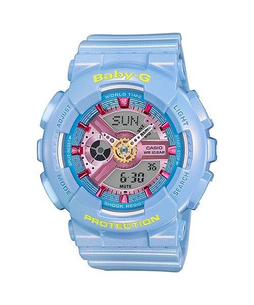 CASIO Baby-G BA-110CA-2A 經典雙顯女錶(珠光粉藍)