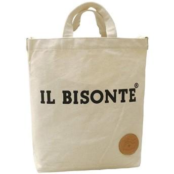 イルビゾンテ IL BISONTE ショルダーバッグ トートバッグ キャンバスバッグ コットンバッグ 無地 大容量 (ホワイト) [並行輸入品]