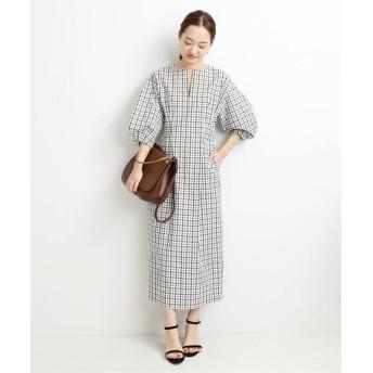 VERMEIL par iena シャツ地チェックウエストシェイプワンピース◆ ホワイト 38