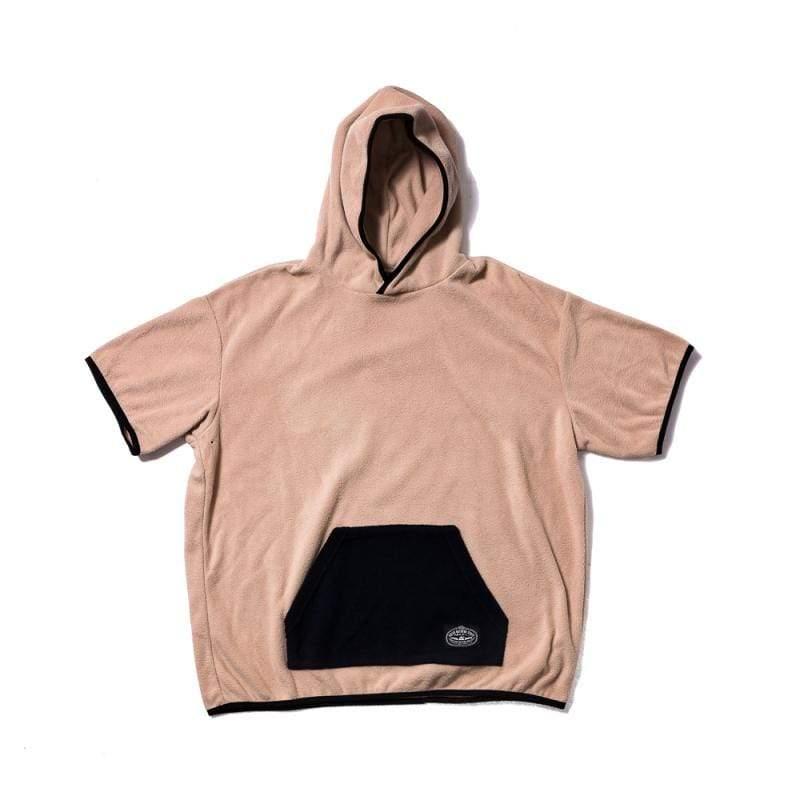 日本限定 FLEECE BAGGY CREW S/S TEE 刷毛連帽T / 連帽短袖上衣 / 卡其色 Size : L
