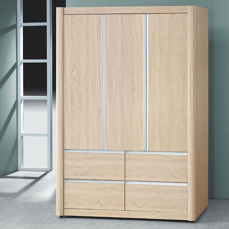 【CA184-46】夏慕浮雕梧桐木4×6尺衣櫥(門後附鏡)