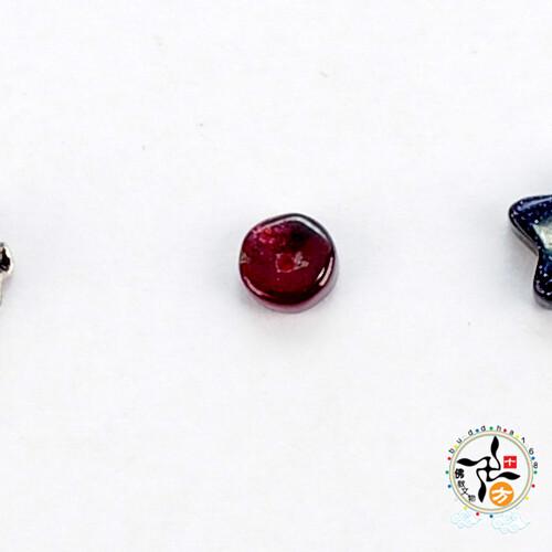 紅石榴石 圓隔片0.5*0.3公分 配件2個 十方佛教文物