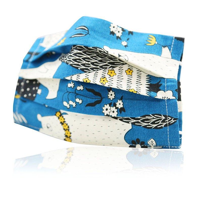 平面兒童款可重複使用透氣純棉進口布口罩套(藍夜動物)