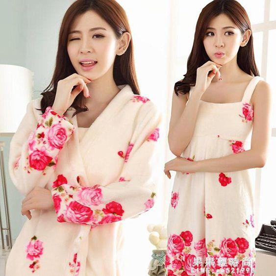 睡衣女冬季韓版珊瑚絨法蘭絨性感浴衣睡袍兩件套裝學生家居服秋冬