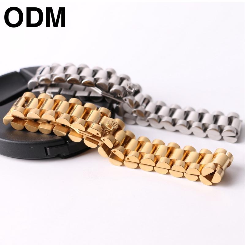 鋼帶精致不銹鋼手表鏈 百搭手鏈 極簡皇冠手環手鏈【ODM】