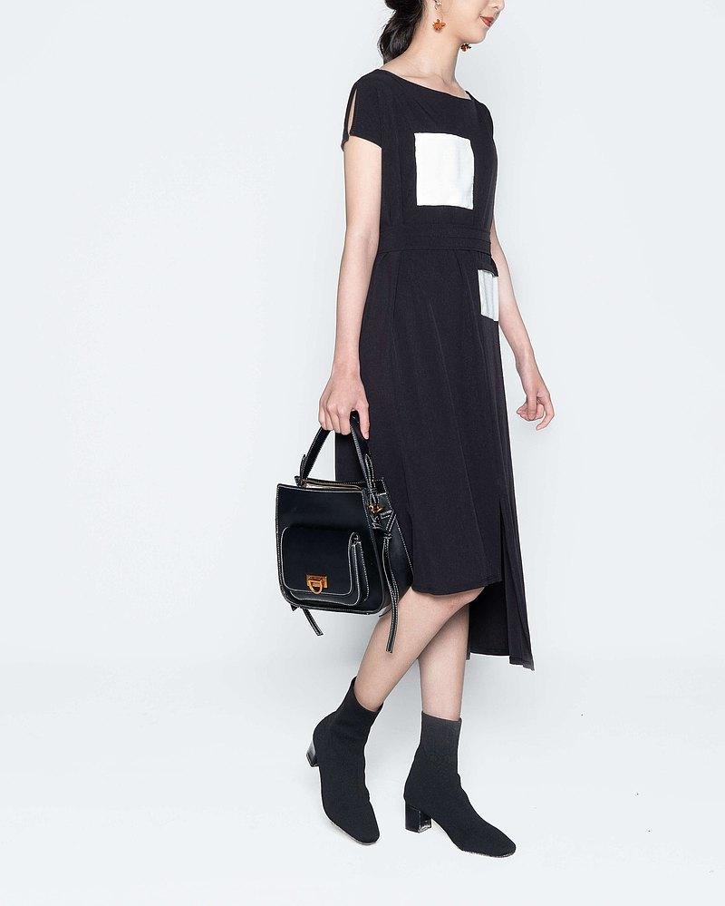 小衩袖復古腰身洋裝-黑
