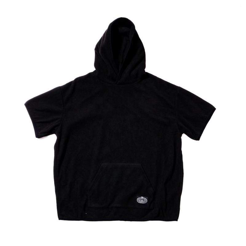 日本限定 FLEECE BAGGY CREW S/S TEE 刷毛連帽T / 連帽短袖上衣 / 黑色 Size : S