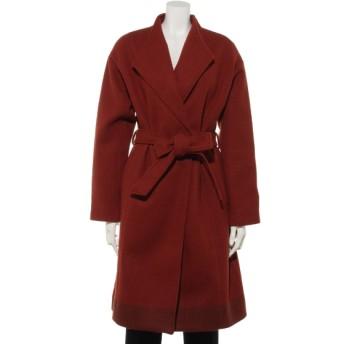60%OFF INTERPLANET (インタープラネット) ニットメルトン裾配色スタンドカラーコート レッド
