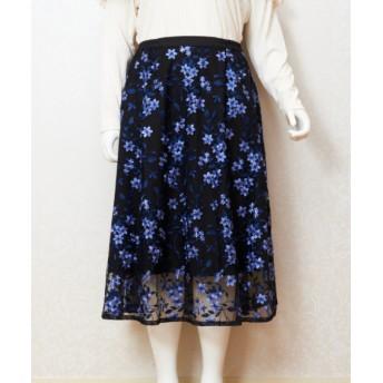 CHUBBY CURVY (Lサイズ) 【CHUBBY CURVY(Lサイズ)】チュール刺繍スカート ブルー 2(17-19)号