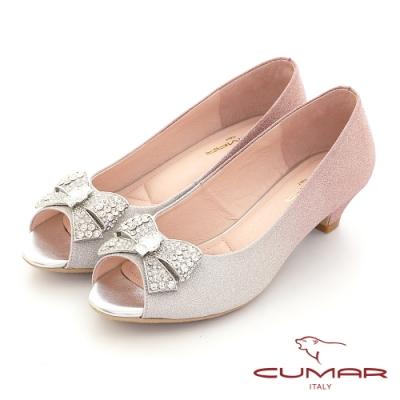 【CUMAR】閃耀蝴蝶結鑽飾魚口低跟鞋 -粉紅