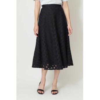 ナチュラル ビューティー ◆チュールチェック刺繍スカート レディース ネイビー 38 【NATURAL BEAUTY】