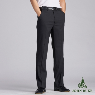 JOHN DUKE約翰公爵商務伸士細條紋平面西褲_黑色(70-B7702)
