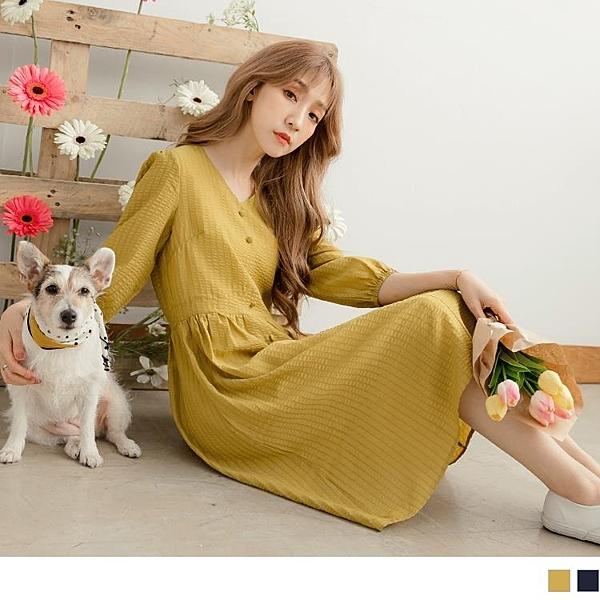 《DA7355-》條紋織紋排釦腰剪接七分袖洋裝 OB嚴選