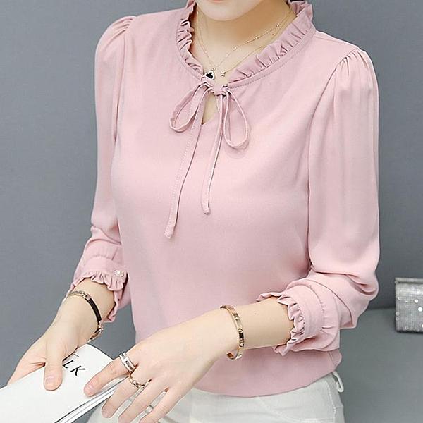2020春季新款韓版優雅蝴蝶結雪紡襯衫女裝長袖白色襯衣打底上衣