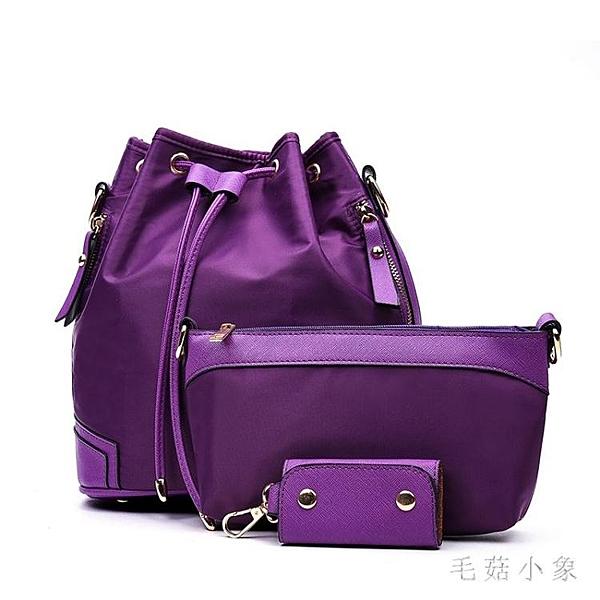 新款韓版尼龍布子母包三件套水桶包流蘇抽繩單肩跨斜挎包 LR20735『毛菇小象』