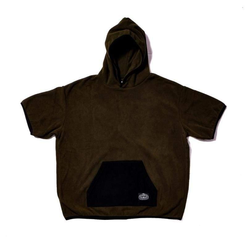 日本限定 FLEECE BAGGY CREW S/S TEE 刷毛連帽T / 連帽短袖上衣 / 橄欖色 Size : S