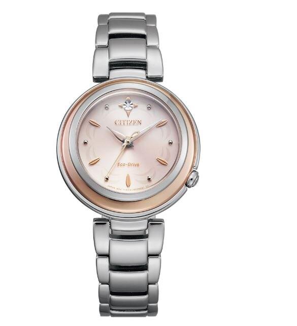 CITIZEN 星辰 EM0589-88X L系列Eco-Drive光動能璀璨真鑽時尚手錶 銀 玫瑰金 30mm