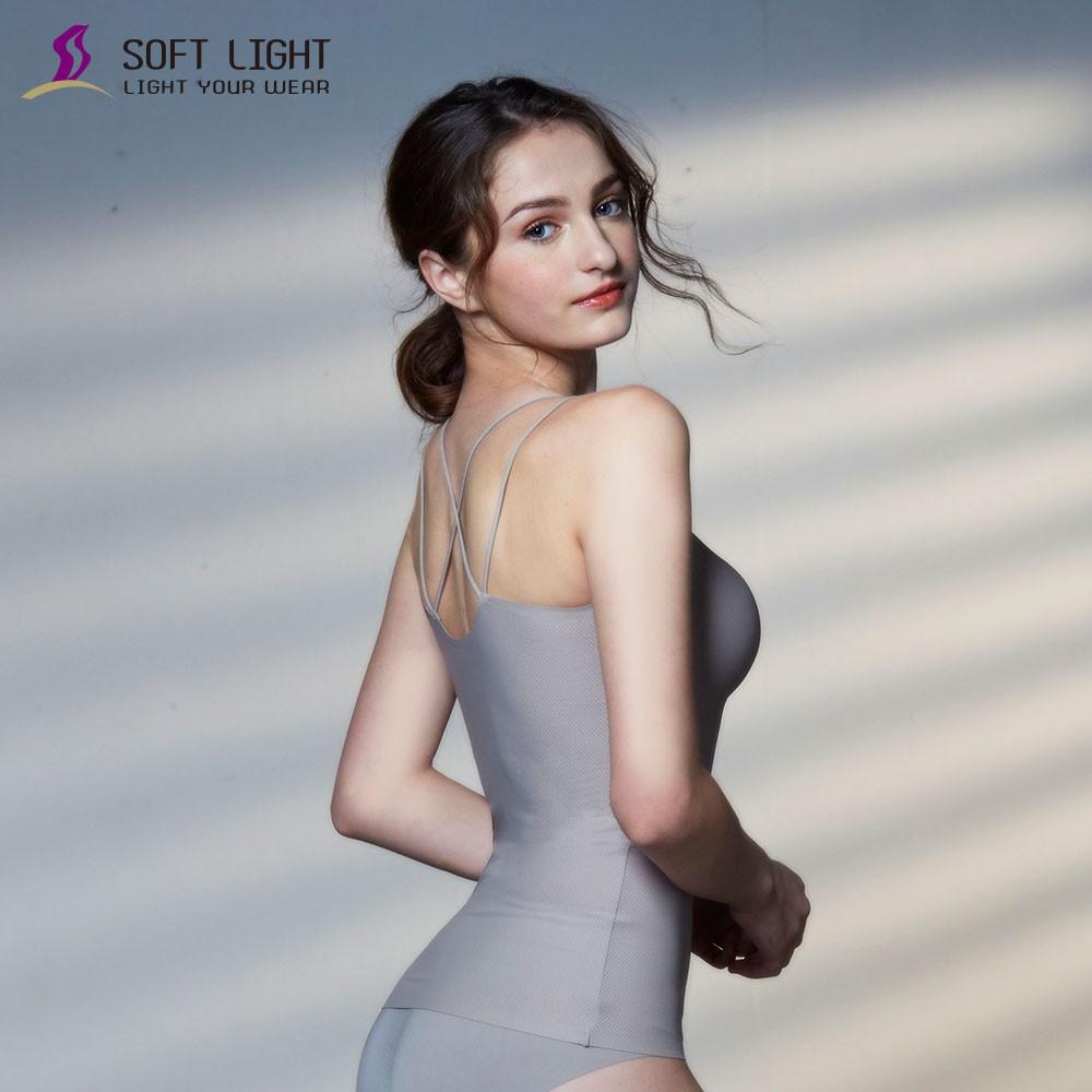 SOFT LIGHT -「沁涼無痕」雙肩帶X型性感BRA背心(鐵灰)